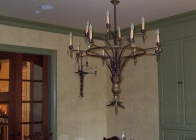 Iron Chandelier w Matching Sconce 2